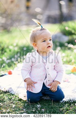 Pensive Little Girl With A Ponytail On Her Head Sits On A Checkered Bedspread On A Green Lawn Among