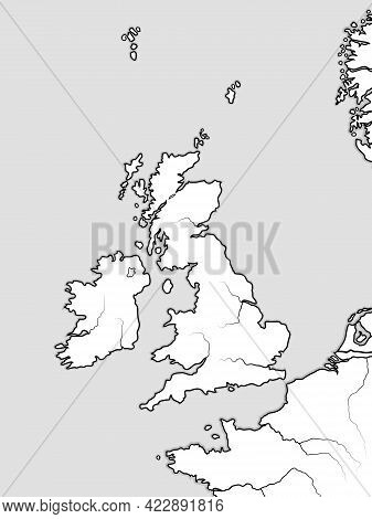 Map Of The English Lands: The Great Britain (the United Kingdom) -- England, Scotland, Wales, And Ir