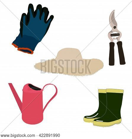 Vector Stock Illustration Of A Gardening Set. Watering Can, Garden Tools, Rakes, Gloves, Garden Hat,