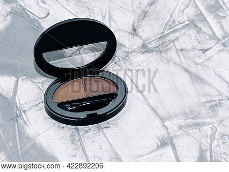 Shadow For The Eyebrows, Brown Eye Shadow, Eyebrow Brush On Concrete Background
