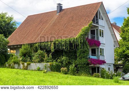 House Overgrown By Ivy, Home Design With Plants And Flowers. Nice Cozy Habitat In Town In Summer. Be
