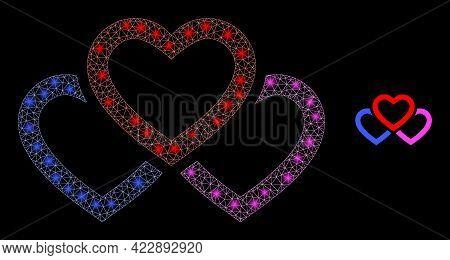 Illuminated Net Triple Love Hearts With Light Spots. Vector Model Based On Triple Love Hearts Icon.