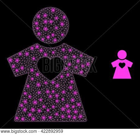 Glowing Network Girlfriend With Glowing Spots. Vector Frame Created From Girlfriend Icon. Illuminate