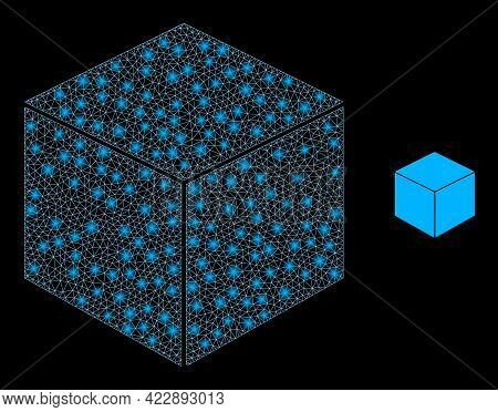 Constellation Network Sugar Cube With Glowing Spots. Vector Constellation Based On Sugar Cube Icon.