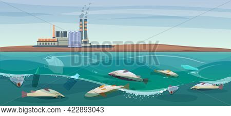 Poisoned Dead Fish In A Dirty River. Plastics Waste And Toxic Chemicals Are Killing Fish. Concept Of