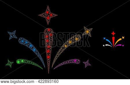Flare Mesh Salute Fireworks With Light Spots. Vector Frame Based On Salute Fireworks Icon. Glowing C