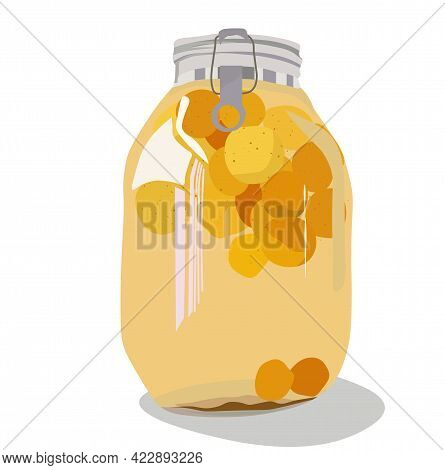 Vector Stock Illustration Of Plum Wine. Jar Of Peach Compote. Alcohol. Green Plum. Japanese Fruits L