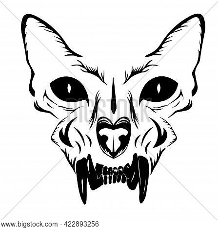 Monochrome Illustration Of A Skull. Scary Monster Head Of A Cat. Horror. A Demon With A Jaw. Fangs.