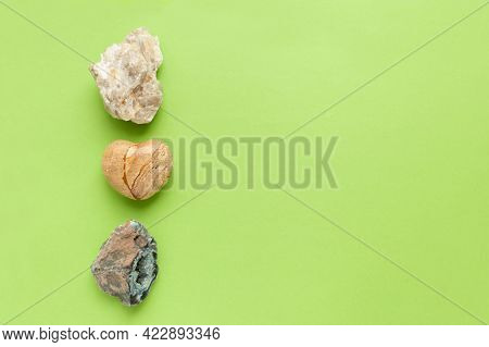 Backgrounds And Textures, Nature Concept - Rocks And Minerals. Different Minerals And Heart Stone On