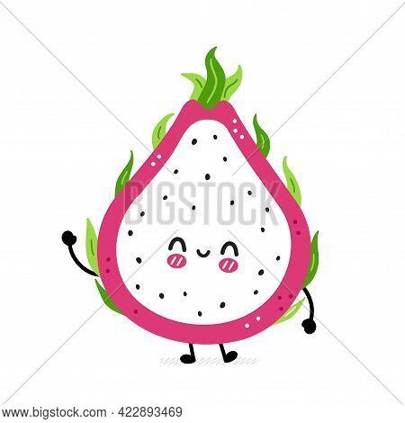 Cute Funny Dragon Fruit. Vector Hand Drawn Cartoon Kawaii Character Illustration Icon. Isolated On W