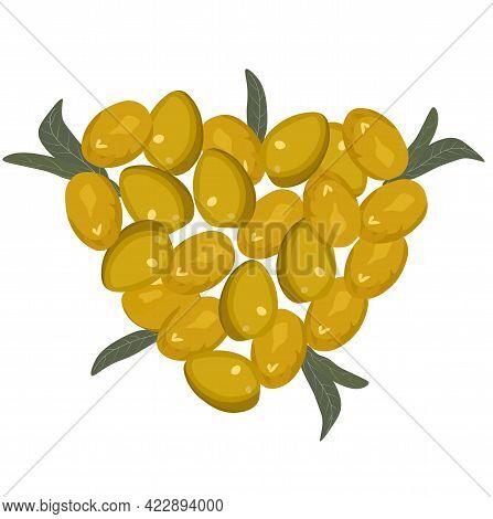 Heart Of Olives Vector Stock Illustration. Round Ripe Olives. Golden Yellow Wedding Invitation. Larg