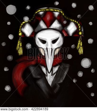 Jester In A Mask In Winter On A Black Background. Masquerade