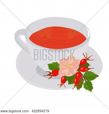 Vector Stock Illustration Of Hot Red Tea With Berries. Dog Rose And Green Watercolor Leaves. The Cup