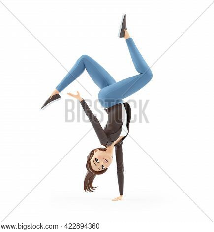 3d Cartoon Woman In Acrobatic Pose, Illustration Isolated On White Background
