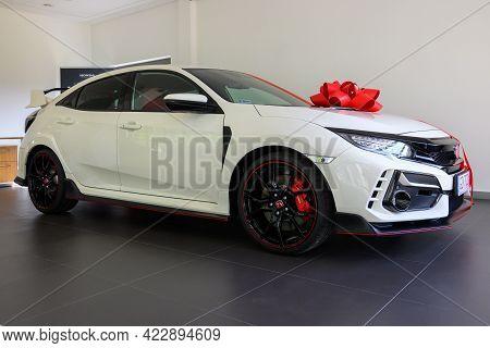 Gdansk, Poland - June 5, 2021: New Model Of Honda Type R Presented In The Car Showroom Of Gdansk