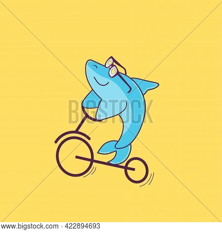 Vector Illustration Of A Blue Shark In Love. Cartoon Character Isolated On Yellow Background. Nice B