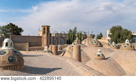 Kashan, Iran - May 2019: The Brick Dome Roof Of Sultan Amir Ahmad Qasemi Bath House