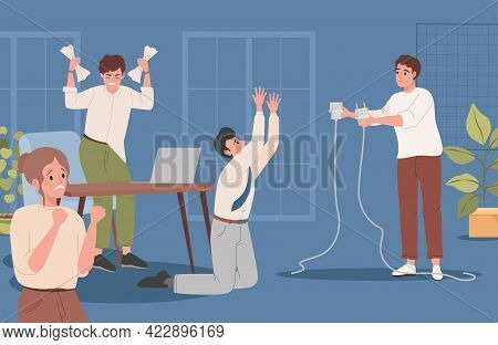 Upset And Confused Man Hold Unplugged Cable Vector Flat Illustration. Office Workers Feeling Displea