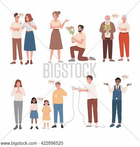 Set Of Men And Women Saying Sorry To Their Close People Vector Flat Illustration. Disappointed And U