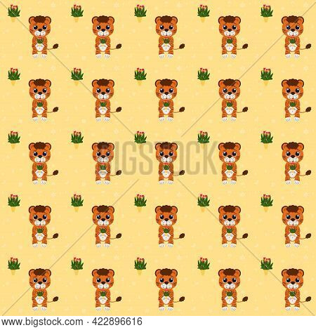 Pattern From Illustration Of A Tiger Cub With A Bouquet Of Flowers