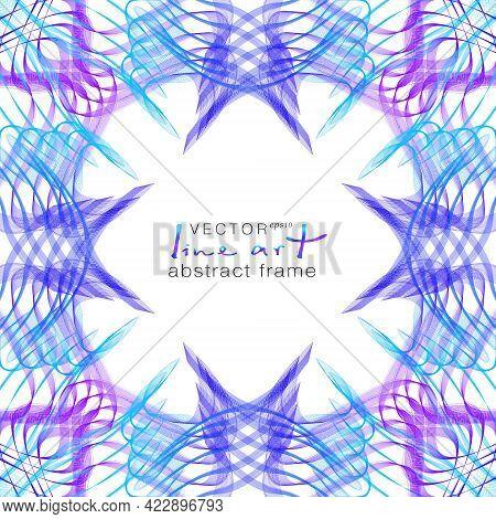 Blue, Purple Squiggle Frame, Line Art Pattern. Ornamental Border With Stylized Ethnic Motif. Wavy Su