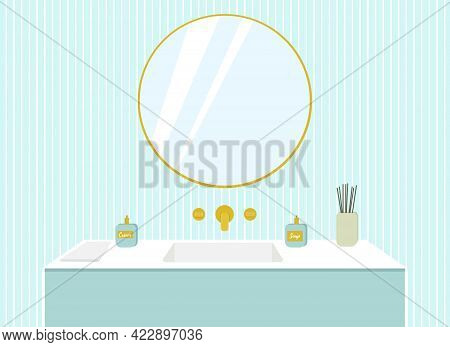 Illustration Of A Bathroom, Washbasin With Gold Taps, A Mirror On A Blue Wall.