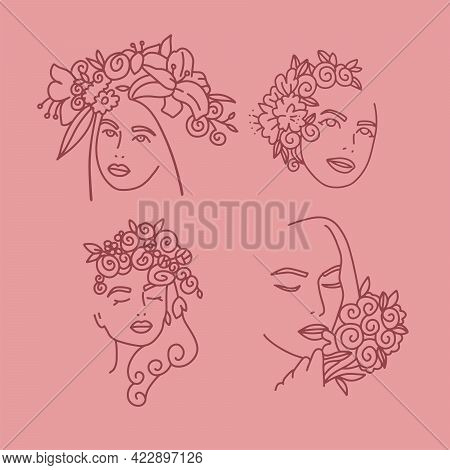 Woman Face With Flowers One Line Drawing Collection. Continuous Line Portrait Drawing Art. Flower Bo