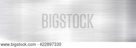 Metal Background. Long Steel Texture. Realistic Silver Material With Shine. Stainless Backdrop With