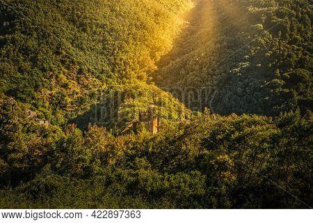 Sunrise Under The Castle Of The Serra Da Lousã