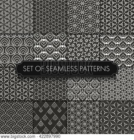 Repeat White Vector White Shapes Texture. Seamless Retro Graphic Gold Art Pattern. Seamless Black Ve