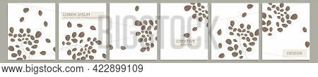 Set Of Vector Cover Notebook Design. Abstract Floral Template Design With Brown Leaves On White Back