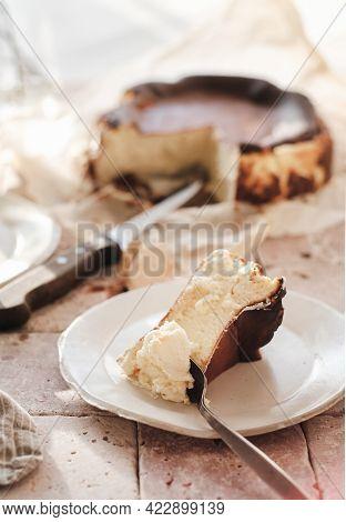 Piece Of Homemade San Sebastian Burnt Cheesecake