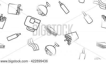 Black And White Endless Seamless Pattern Of Food And Snack Items Icons Set For Restaurant Bar Cafe: