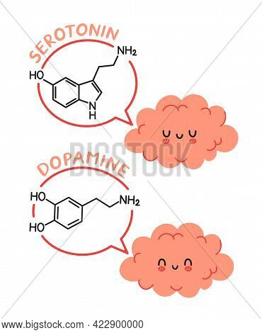 Cute Funny Human Brain Organ Character And Dopamine, Serotonin Formula In Speech Bubble. Vector Cart