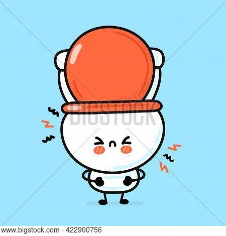 Cute Funny Sad White Toilet Bowl. Vector Hand Drawn Cartoon Kawaii Character Illustration Icon. Funn