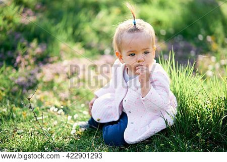 Little Girl With A Ponytail Sits On A Green Lawn And Gnaws At Her Fingers