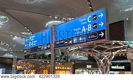 Istanbul, Turkey - July 2019: Flight Gates Directional Signage In Transit Zone In New Istanbul Airpo