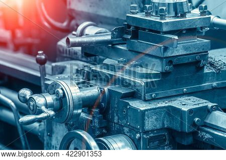 Industrial Automotive Cutter Machine, Abstract Blue Industry Metalwork Background.
