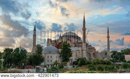 Istanbul, Turkey - June 2019: Hagia Sophia Ayasofya Museum In Sultanahmet Square Park, Istanbul, Tur