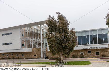 Santa Barbara, Ca, Usa - June 2, 2021: City College Facilities. Nw Facade Of West Campus Center Unde
