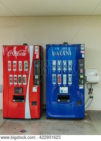 Santa Barbara, Ca, Usa - June 2, 2021: City College Facilities. Closeup Of Red Coca-cola Sodas And B