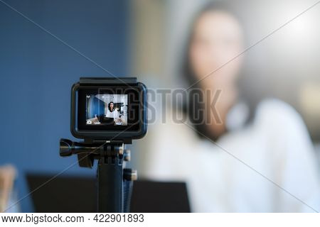 Business Woman Or Blogger Recording Vlog On Digital Camera And Live Stream.