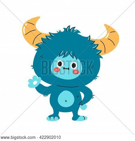Cute Funny Yeti Monster Character. Vector Hand Drawn Cartoon Kawaii Character Illustration Icon. Iso