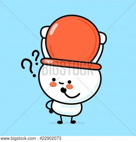 Cute Funny Happy White Toilet Bowl With Qustion Mark. Vector Hand Drawn Cartoon Kawaii Character Ill