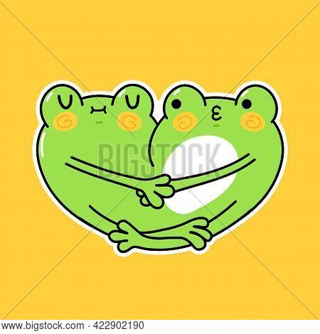 Cute Funny Frogs Couple Hugs. Vector Hand Drawn Cartoon Kawaii Character Illustration Sticker Set. F