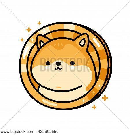 Cute Funny Dogecoin Character. Vector Hand Drawn Cartoon Kawaii Character Illustration Icon. Isolate