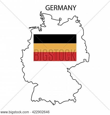 Germany Flag On Map. Germany Map Vector. World Map Icon. Vector Illustration. Stock Image.