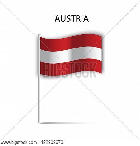 Austria Flag Stick For Banner Design. Travel Vector Icon. Vector Illustration. Stock Image.