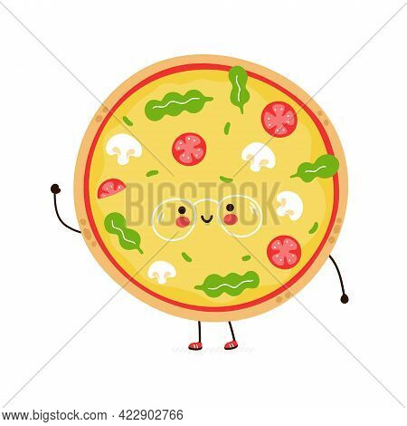 Cute Funny Pizza In Glasses Character. Vector Hand Drawn Cartoon Kawaii Character Illustration Icon.