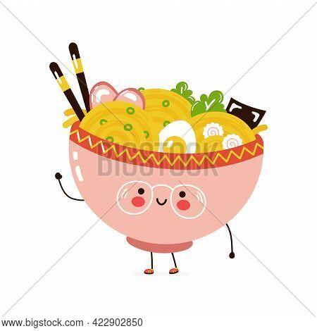 Cute Funny Ramen Bowl Character. Vector Hand Drawn Cartoon Kawaii Character Illustration Icon. Isola